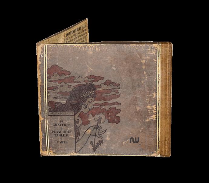 Portefeuille ultra plat design gravure ancienne