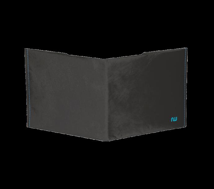 Portefeuille ultra slim noir et bleu en matiere recyclable