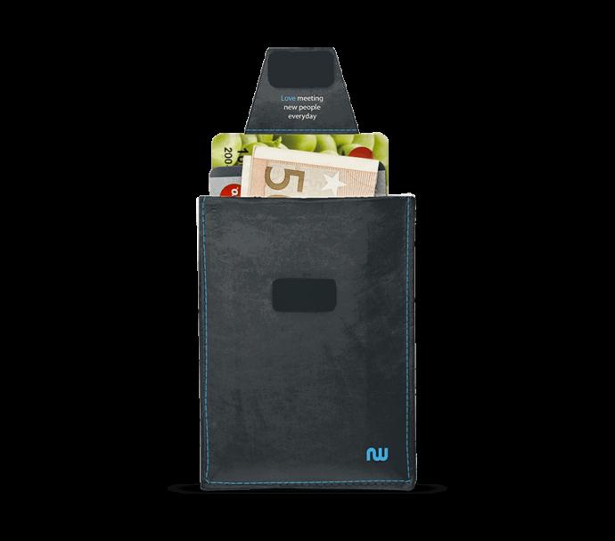 Porte carte d'identité ultra plat noir et bleu