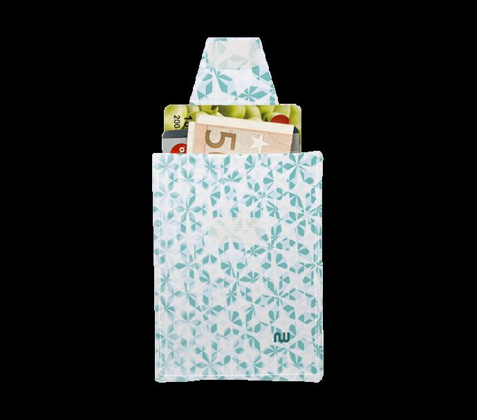 Porte-carte super plat pour femme blanc et vert
