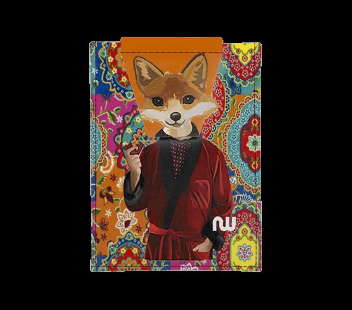 portefeuille carte d'identité avec un renard fumant une pipe